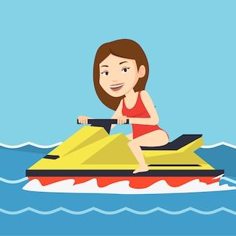 Кавказская женщина, обучение на гидроцикле в море.