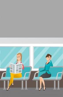 Caucasian women traveling by public transport.
