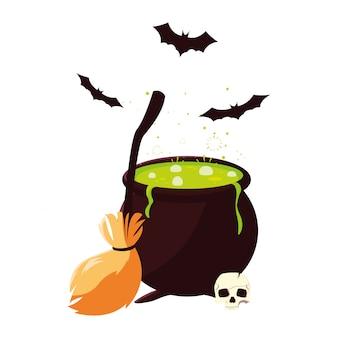 Cauldron broom skull happy halloween celebration