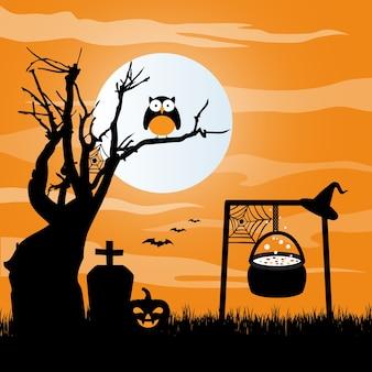 Cauldron in graveyard halloween background