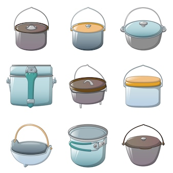Cauldron kettle halloween icons set