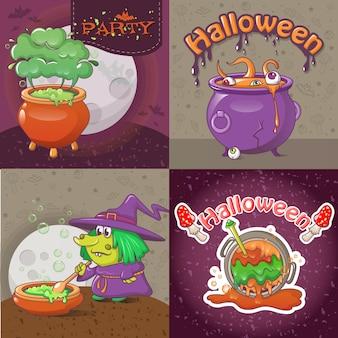 Cauldron pot banner concept set