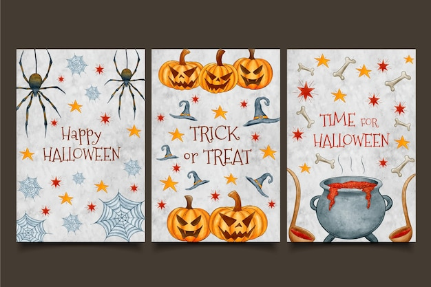 Cauldron and pumpkins watercolour halloween cards
