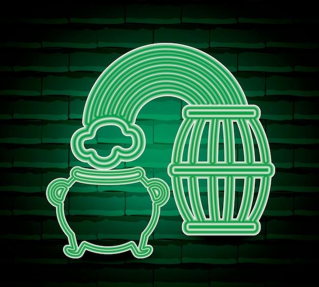 Cauldron saint patricks day neon label