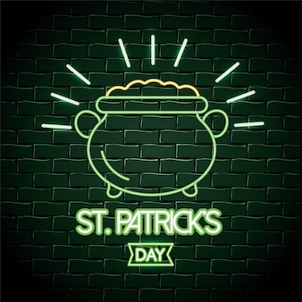 Cauldron with coins neon label to st patrick event