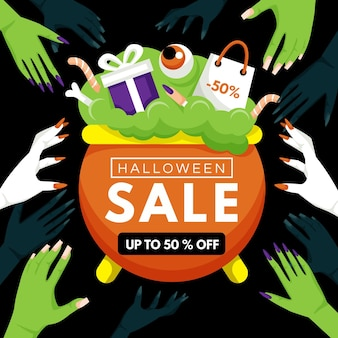 Cauldron with flat design halloween sale