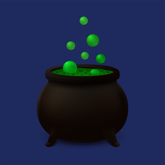 Cauldron with green slime. vector icon