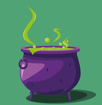 Cauldron with magical potion