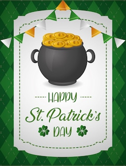 Cauldron with money greeting card, st patrcks day