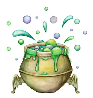 Cauldron with potion, in cartoon style, on an isolated background. watercolor for a happy halloween party.
