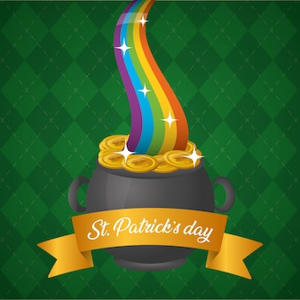 Cauldron with rainbow and ribbon, patricks day greeting card