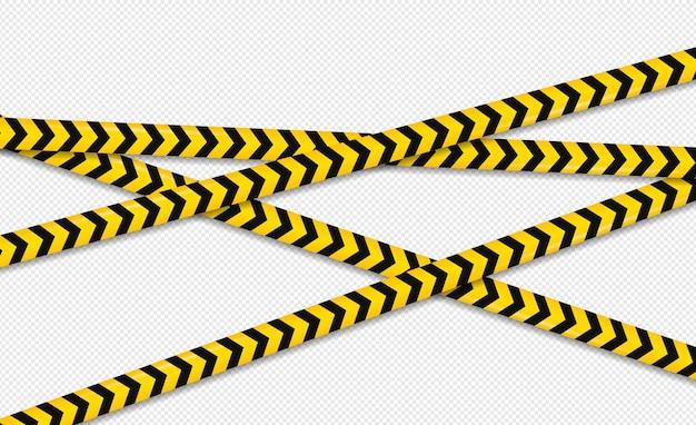 注意と危険ライン。黒と黄色の警告、警察のテープ、注意、サインライン。