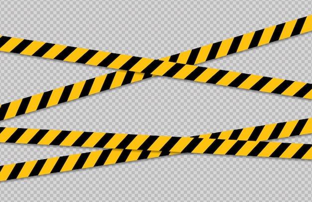 주의 및 위험 선 검정색과 노란색 경고 경찰 테이프주의 표시 선