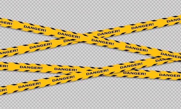 注意と危険ライン黒と黄色の警告警察テープ注意サインライン Premiumベクター