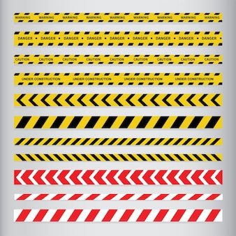 注意と危険のテープ。警告テープ。
