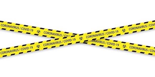 Caution biohazard black and yellow striped borders.