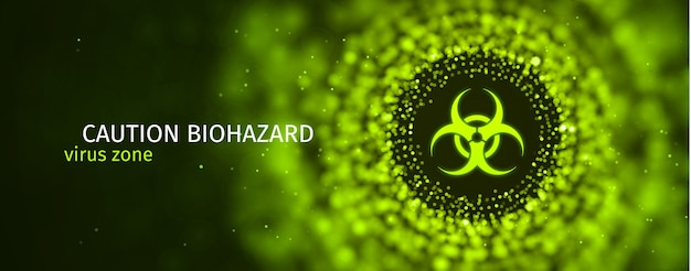 Caution biohazard epidemic banner toxic sign on green blurred background