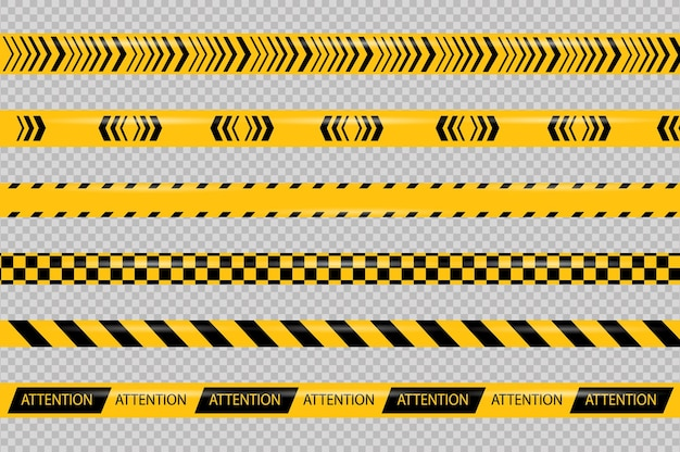 Caution and danger line black and yellow warning police tapes attention sign line