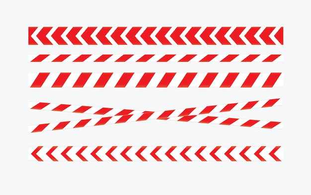Caution and danger tapes. warning tape. red and white line striped.