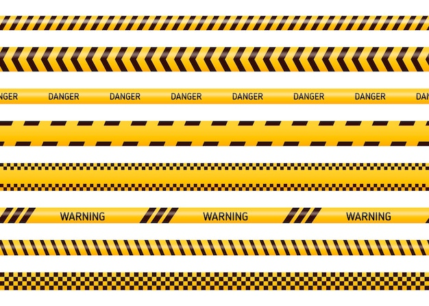 Caution and danger tapes in yellow and black color. police attention line or under construction ribbon, warning signs collection isolated on white background.