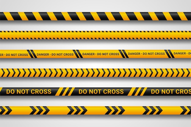 Caution and danger tapes.
