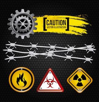 Caution design over black background vector illustration