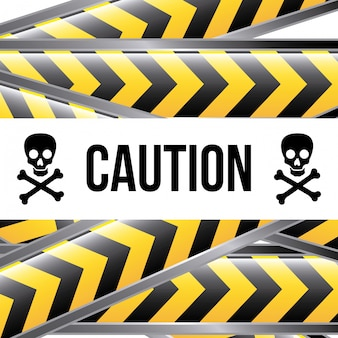 Caution label over white background