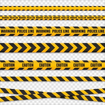 Caution lines isolated. warning tapes. danger signs..