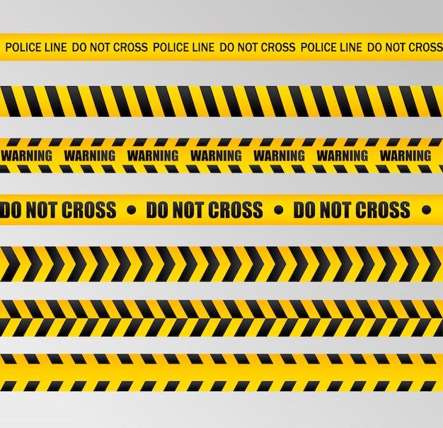 Осторожно линии изолированы. предупреждающие ленты. знаки опасности ..