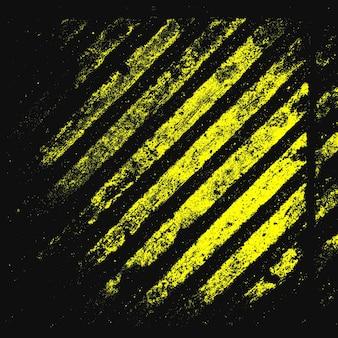 주의 금속 grunge 텍스처입니다. 위험 줄무늬. 검은색과 노란색 라인입니다. 벡터 배경입니다.