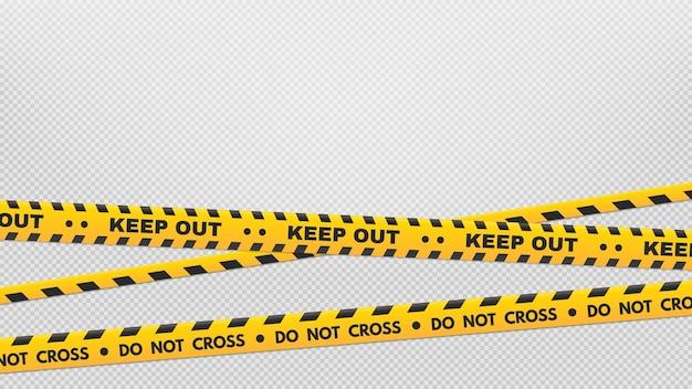 Осторожно, полосы по периметру. ленты с предупреждениями и опасностями