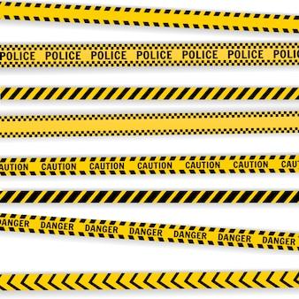 白で隔離される注意警察ラインセット