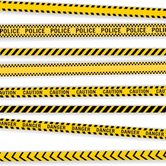 Caution police lines set isolated on white