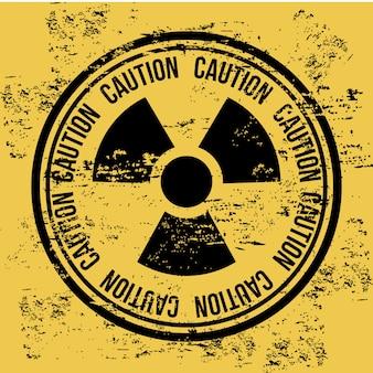 Caution seal over vintage background vector illustration