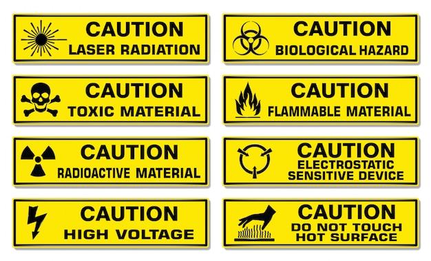 Предупреждающий знак, желтый прямоугольник предупреждение опасный комплект.