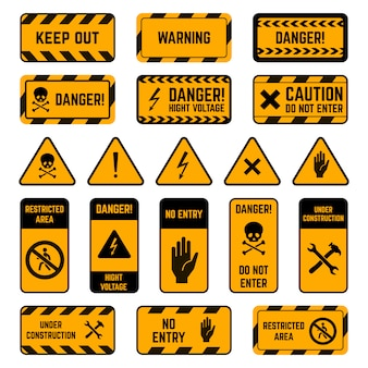 Caution signs. danger warning yellow and black tape, poison biohazard striped, high voltage security perimeter elements  symbols set. safety exclamation, attention electricity zone illustration