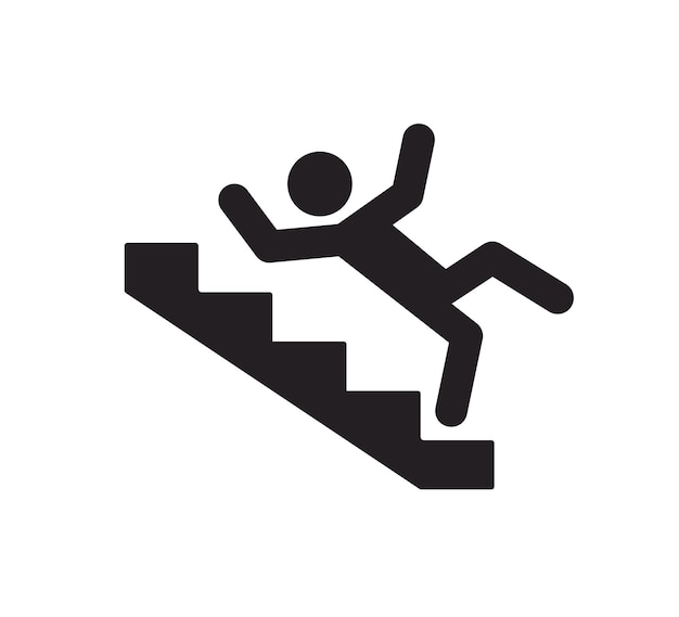 Caution stairway sign a man falling down the stairs a sign warning of danger slippery stairs icon