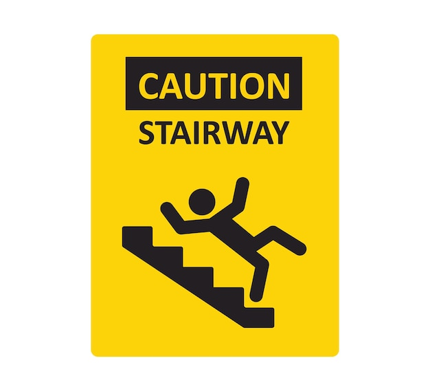 Caution stairway sign. a man falling down the stairs. a sign warning of danger. slippery stairs. vector illustration isolated on white background