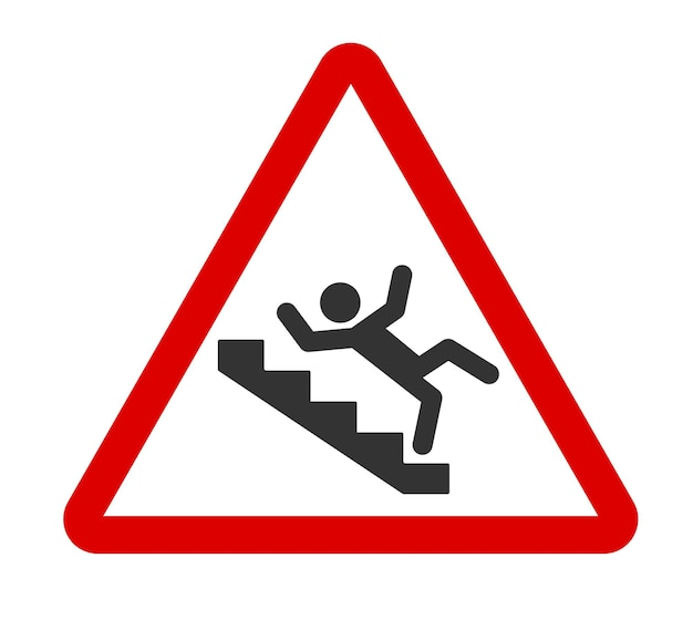 Caution stairway sign a man falling down the stairs slippery stairs icon in red triangle