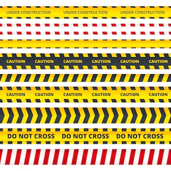 Caution stripe. danger or attention messages security police crime scene signs