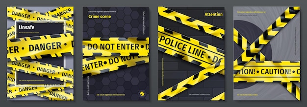 Caution tape posters. set of banners with yellow danger tape and warning signs for party flyers. vector placards with safety ribbons design template, fashion style retro danger alert zone