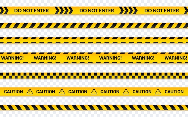 Caution tape set, do not enter yellow ribbon.