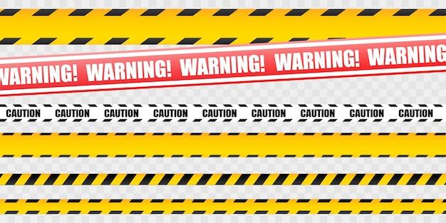 黄色の警告リボンの注意テープセット