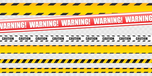 Caution tape set of yellow warning ribbons