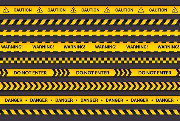 Caution tape set, yellow warning strips, danger symbol, arrows, yellow lines with black text and triangle sign.