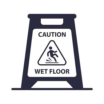 Caution wet floor plate icon. flat vector illustration