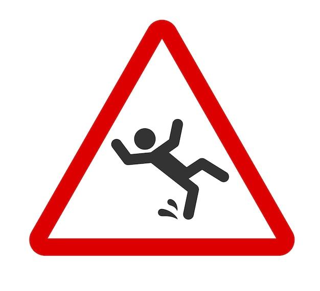 주의 젖은 바닥 기호 빨간색 삼각형에 아이콘 아래로 떨어지는 남자 미끄러운 바닥