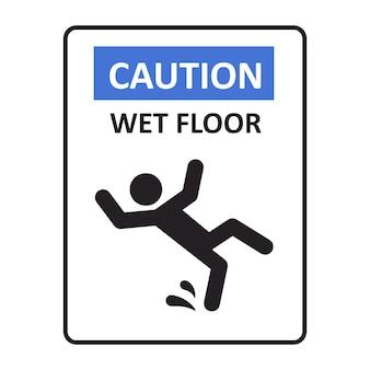 주의 젖은 바닥 표지판. 넘어지는 남자. 미끄러운 바닥 표지판. 위험 경고 표시입니다. 벡터 일러스트 레이 션 흰색 배경에 고립입니다.