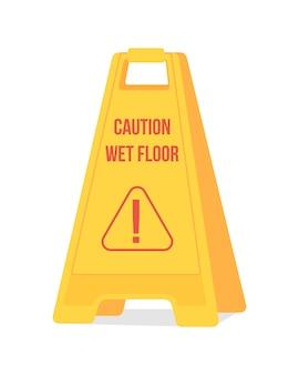 Caution wet floor sign semi flat color vector object