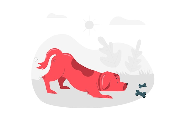 Cautious dog concept illustration